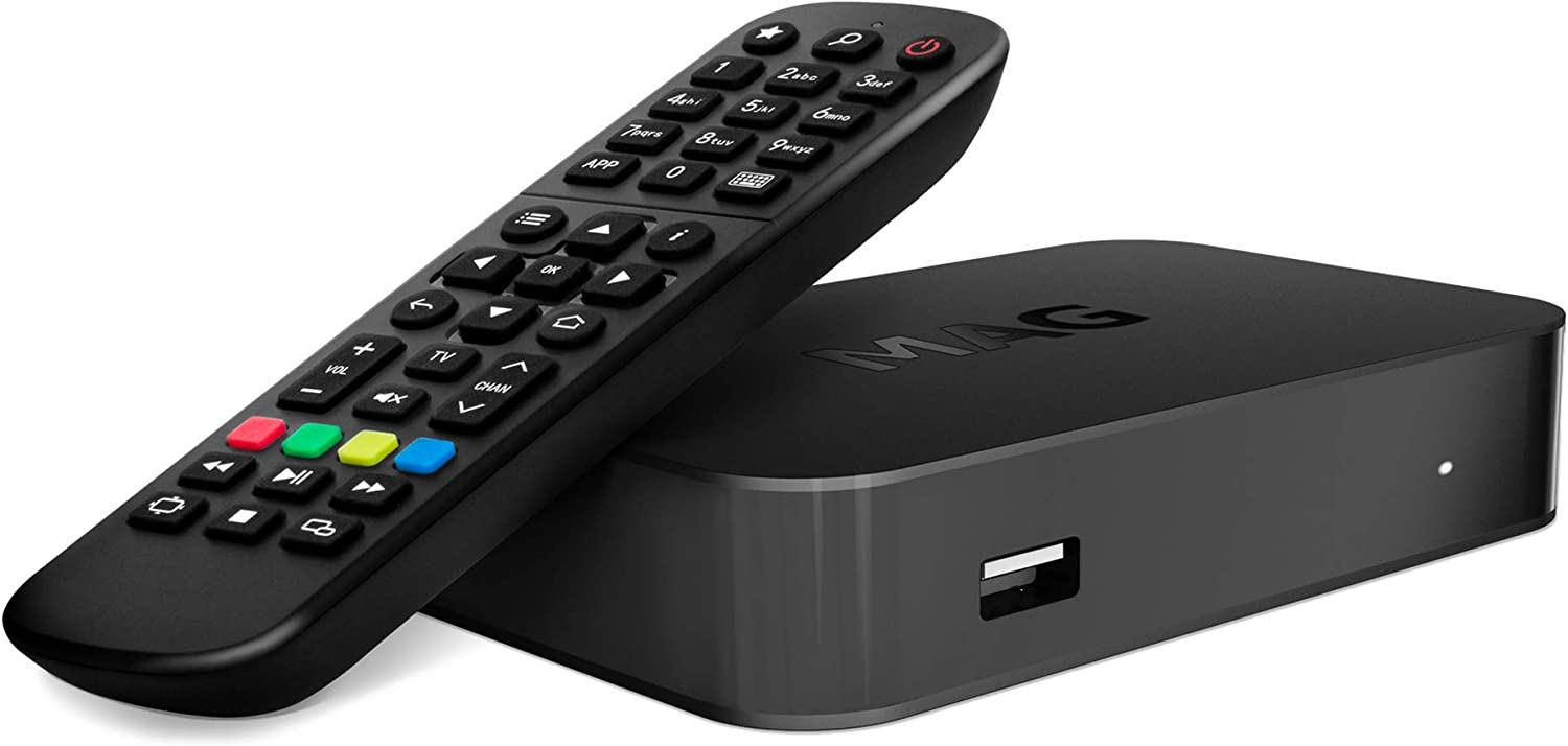 MAG 420w1 4K and HEVC Support, 512 MB RAM, 512 MB NAND, USB × 2 pcs. (3.0, 2.0), Built-in Wi-Fi, Linux OS, HDMI and RCA outputs