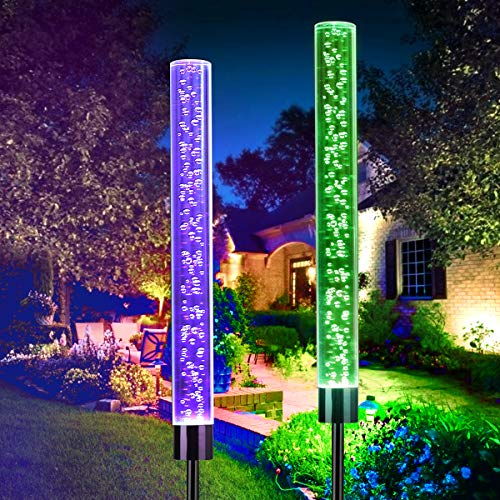 OUTERDO Solar Garden Stake Lights, Solar Tube Lights Outdoor Decorative RGB Color Changing Solar Powered Lawn Lights, Solar Bubble Lights Waterproof for Garden Lawn Patio Front Yard (2 Pcs)