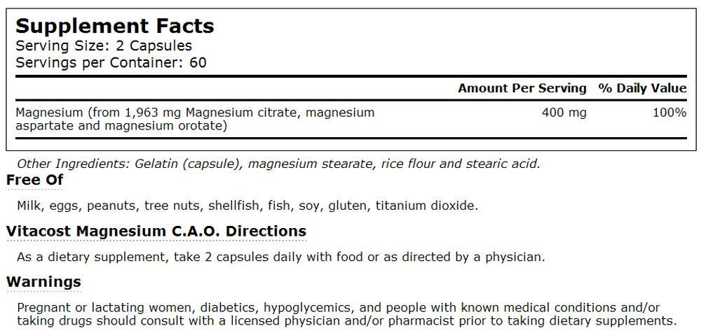 Amazon.com: vitacost c.a.o. – -de magnesio 400 mg por Servir ...