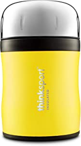 Thinksport 12oz GO4TH Travel Lunch Container with Lid & Folding Spork | Stainless Steel, Triple-Walled Insulated, Vacuum-Sealed, 24 Hrs Cold, 8+ Hrs Hot - Yellow (GO4TH - 350 Yellow)