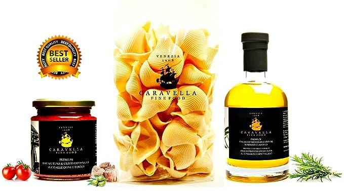 Paquete de regalo gourmet Italiano: Caravella Premium Shell Conchiglioni Pasta italiana hecha a mano Artesanal