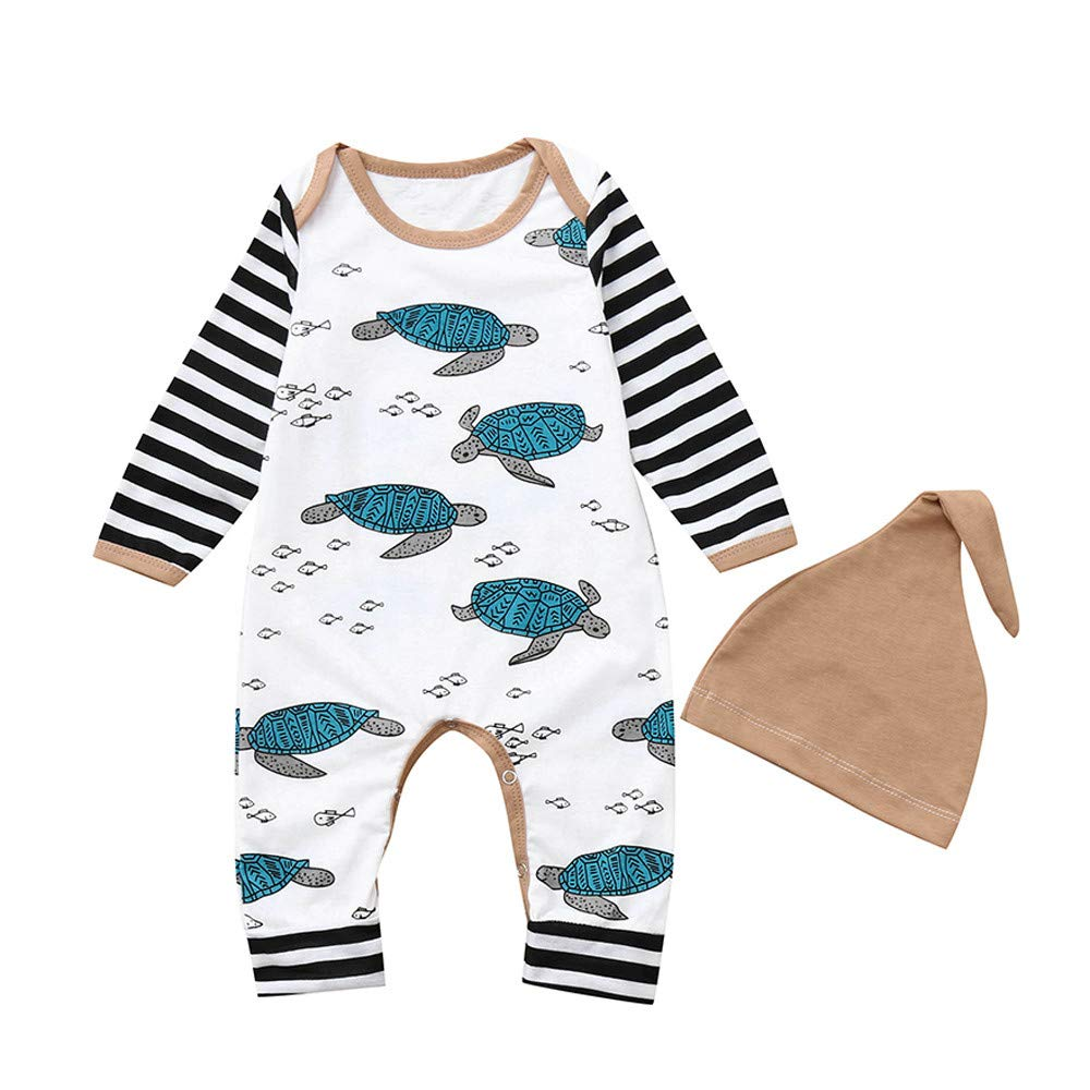 Buoyee Newborn Infant Baby Boy Girl Tortoise Striped Romper Jumpsuit Hat Clothes Set