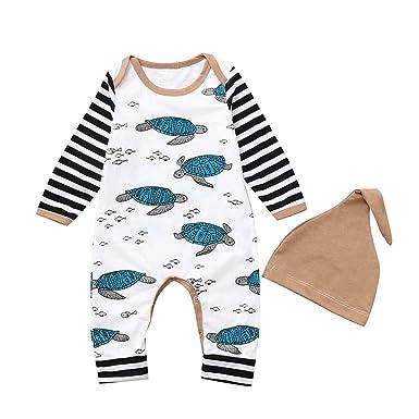 Hut Outfits Junge M/ädchen Winter Langarm Schildkr/öte gestreift Jumpsuit XXYsm Unisex Baby Strampler Set Overalls