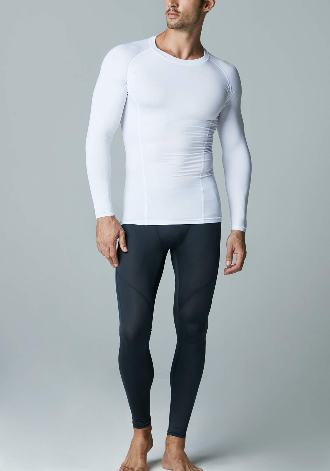 ATHLIO AO-BLS01-WHT_Large Men's (Pack of 3) Cool Dry Compression Long Sleeve Baselayer Athletic Sports T-Shirts Tops BLS01 by ATHLIO (Image #5)