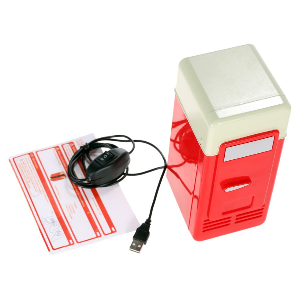Mini Fridge, Portable USB Cooler and Warmer Dual-Purpose Refrigerator Small Fresh Keeping Cabinet for Office Outdoor by TRIEtree (red) by TRIEtree (Image #8)