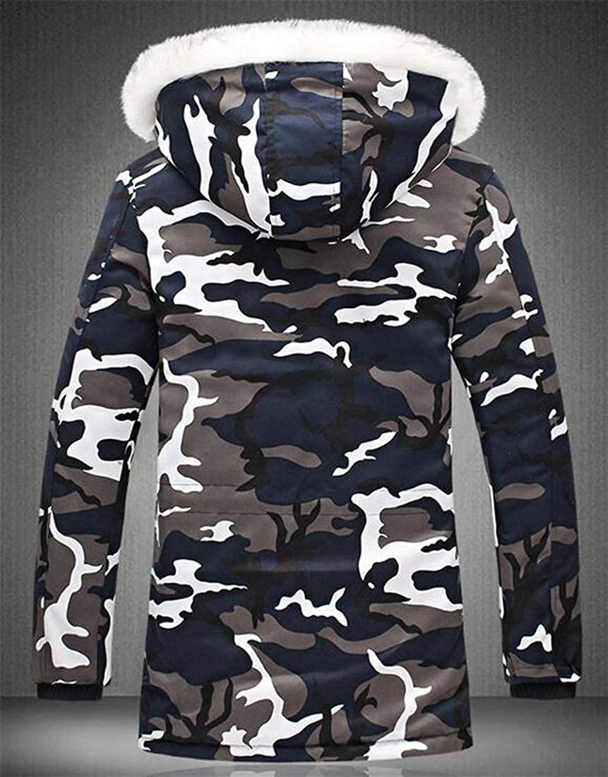 Lutratocro Mens Winter Thicken Camo Quilted Faux Fur Hooded Parka Coat Outwear