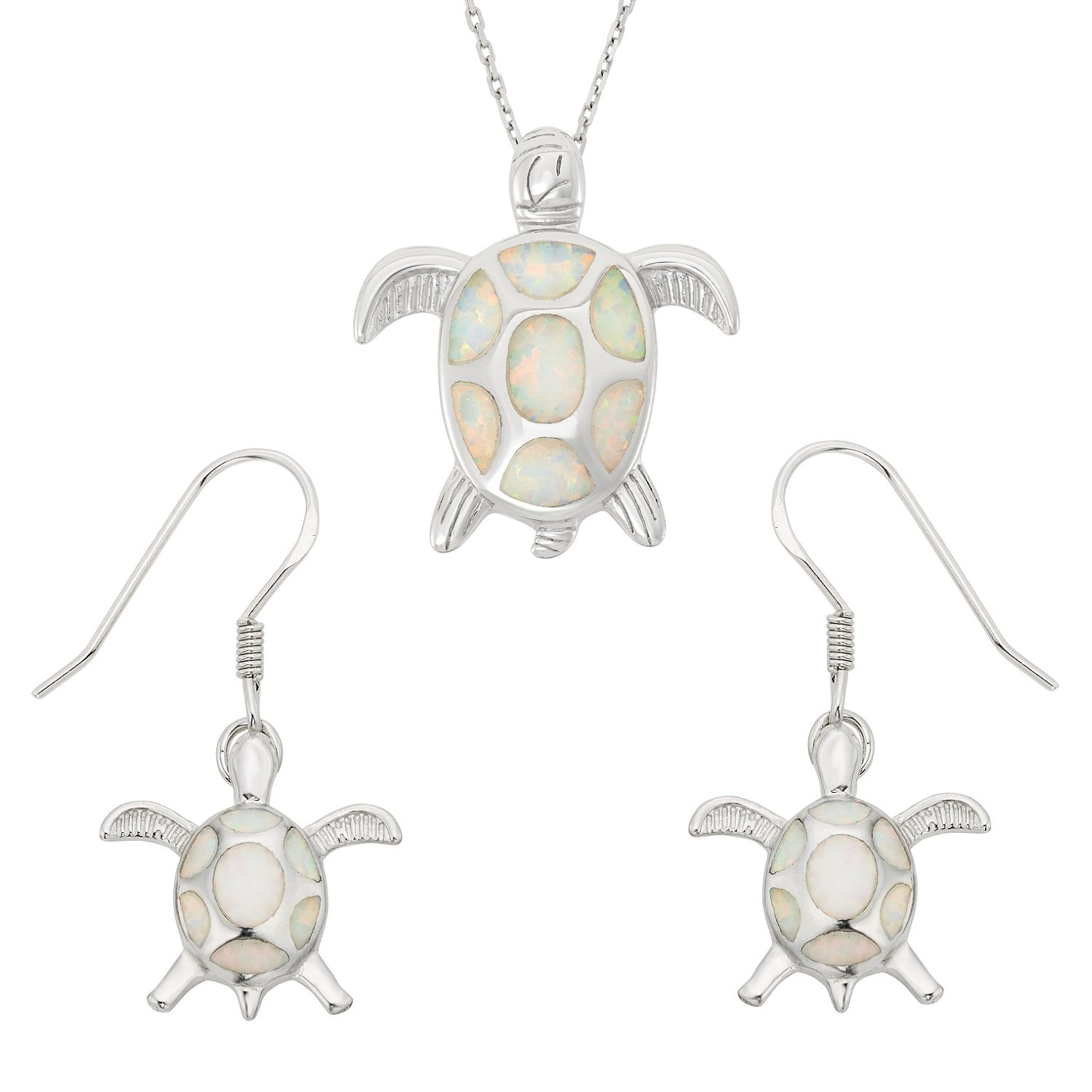 Sterling Silver Created White Opal Turtle Earrings and Pendant Set with 18'' Chain