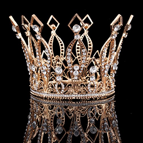 FUMUD Imperial Medieval 3.9inch Crowns Full Rould Gold/Silver Tiaras For Women Clear Crystal Pageant Party Costumes Diadem Hair Jewelry (Rose Gold)