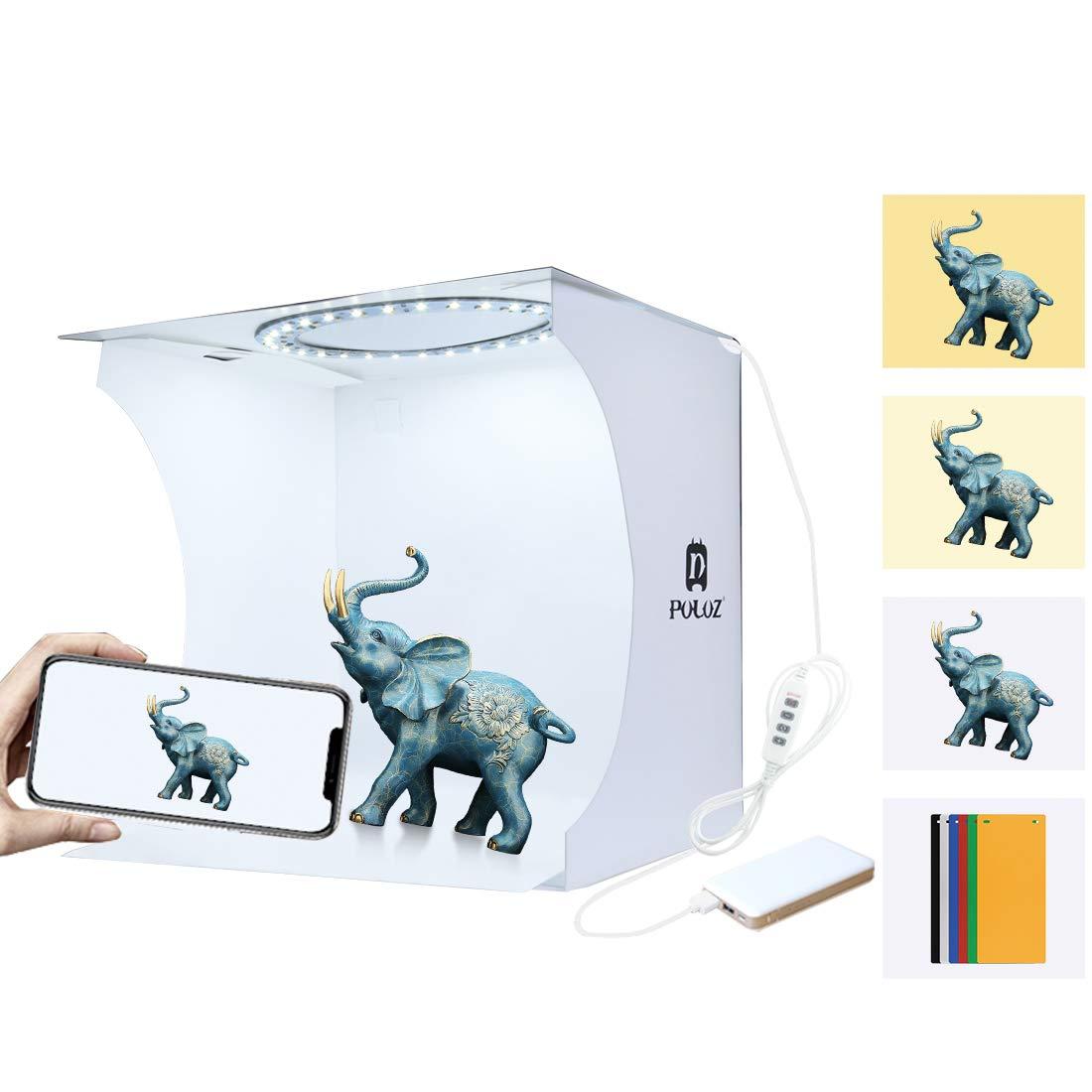 Mini Ring Lightbox Folding Portable Photo Studio Box Photography Softbox Light Box Studio Shooting Tent Box Kit with 6 Backdrops by CAMOLO