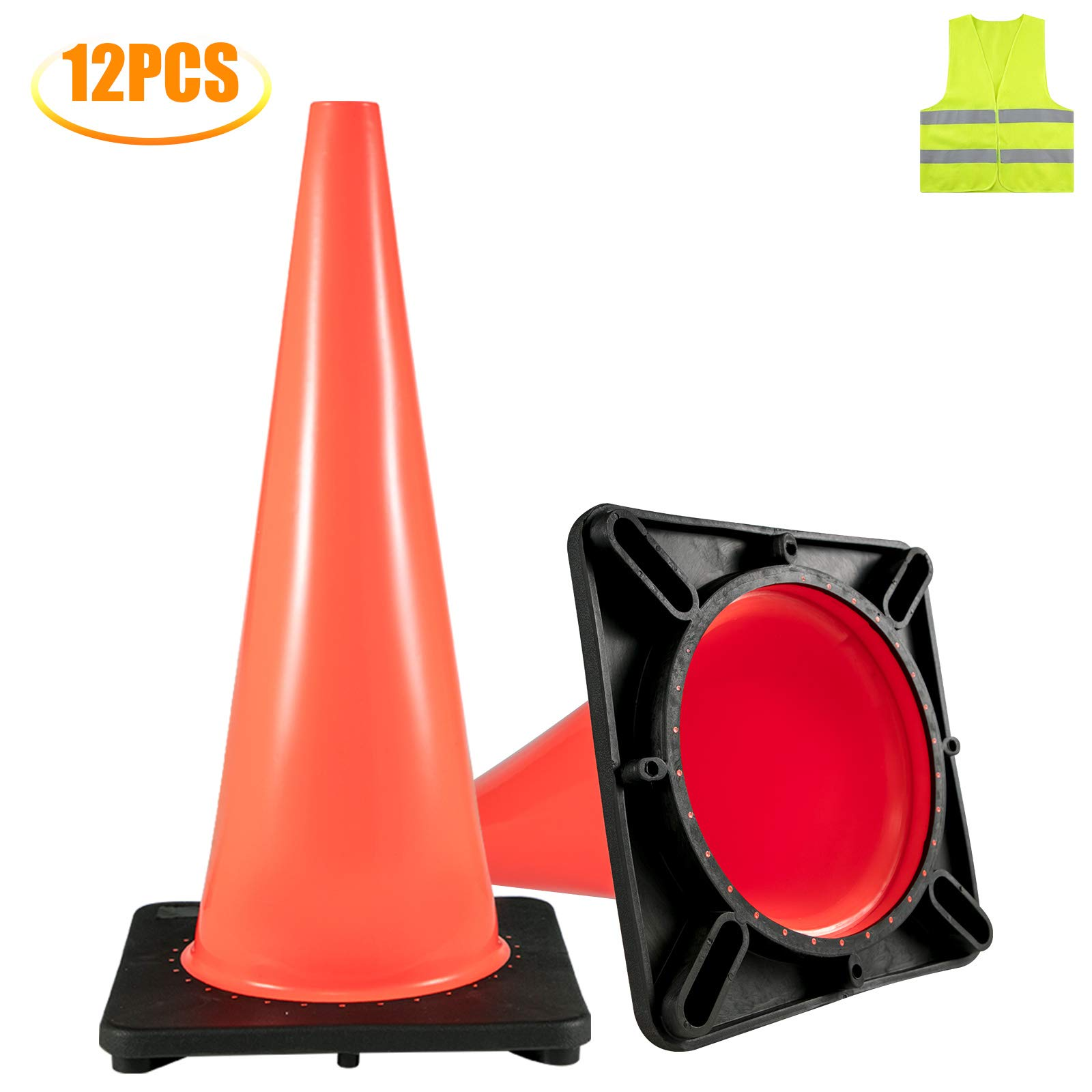 BestEquip 12 Traffic Cones 18'' Road Packing Safety Cones PVC Orange Traffic Safety Cone with Black Base Soccer Training Cones by BestEquip