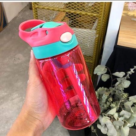 NCDFH 500 ml 4 Colores Botellas de Agua Infantil recién Nacido Taza niños aprenden alimentación Jugo de Paja Botella de Bebida para Rose_Red_500ml: Amazon.es: Hogar
