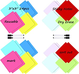 24 Pcs Dry Erase Sticky Notes, 3 x3 Inch Dry Erase Labels,Reusable Sticky Notes Mini Whiteboard Labels Stickers, with 4 Pieces Dry Erase Markers for Meeting Classroom Home and Party (White)