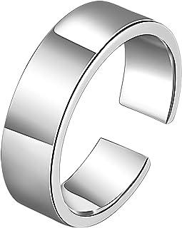 Beydodo Mens 999 Sterling Silver Rings Vintage, Gothic Ring Adjustable Polished Index Finger Ring Size J 1/2-M 1/2