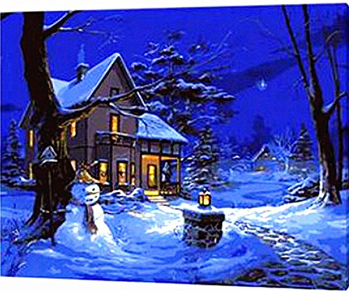 [WOODEN FRAME]Diy Oil Painting Paint By Number Kit-Blue Christmas Night 16*20 inch
