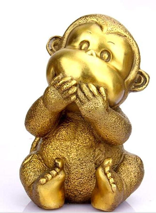 China pure brass Long arm monkey small statue