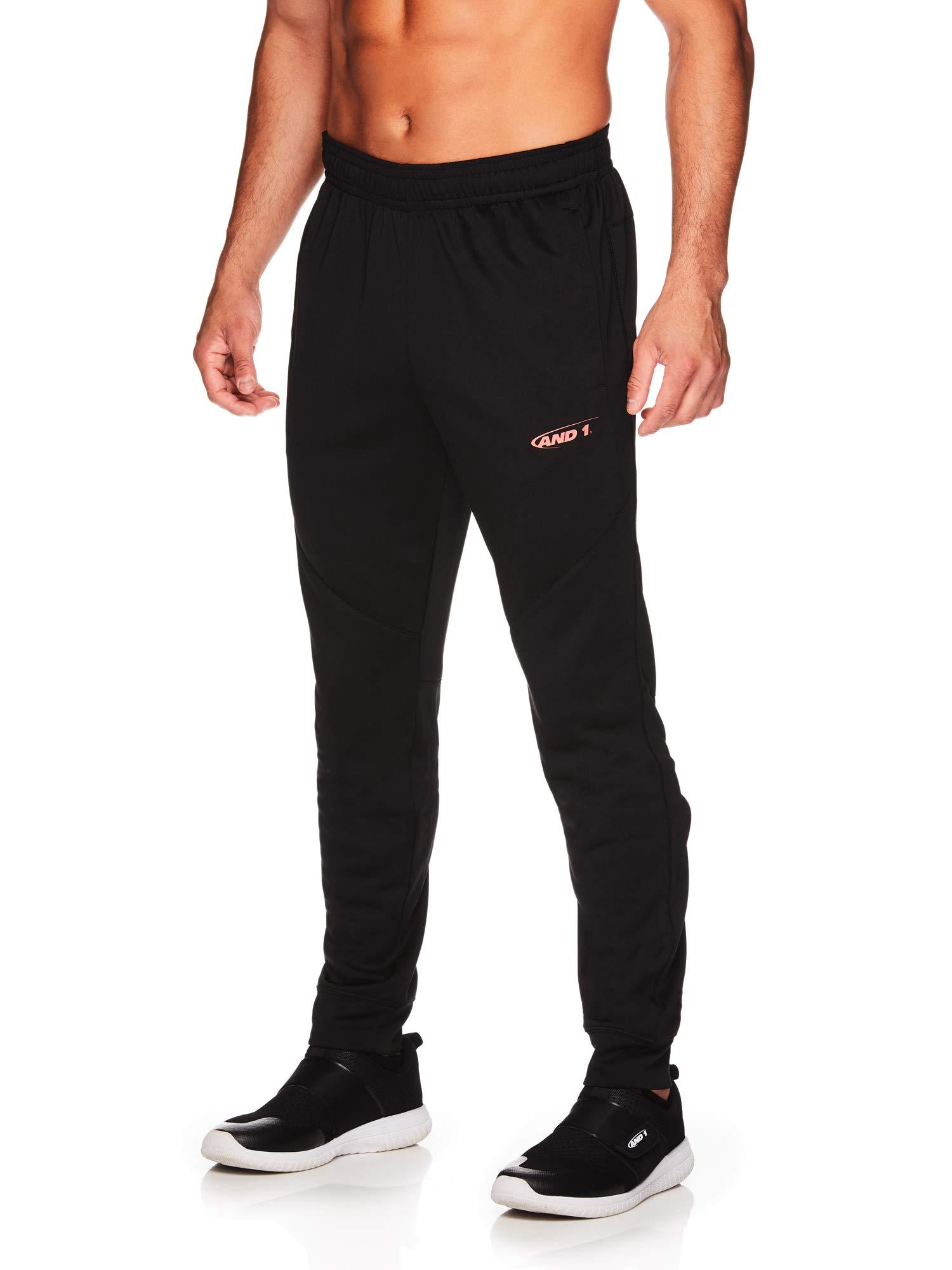 AND1 Men's Tricot Jogger Pants - Basketball Running & Jogging Sweatpants w/Pockets - Black/Hot Coral, Small