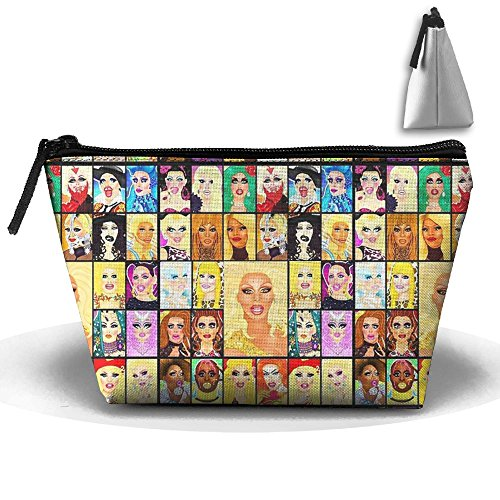 Huazhen Womens Drag Queen Royalty Cosmetic Bags Travel Toiletry Pouch Portable Trapezoidal Storage Organizer Pencil Holders -