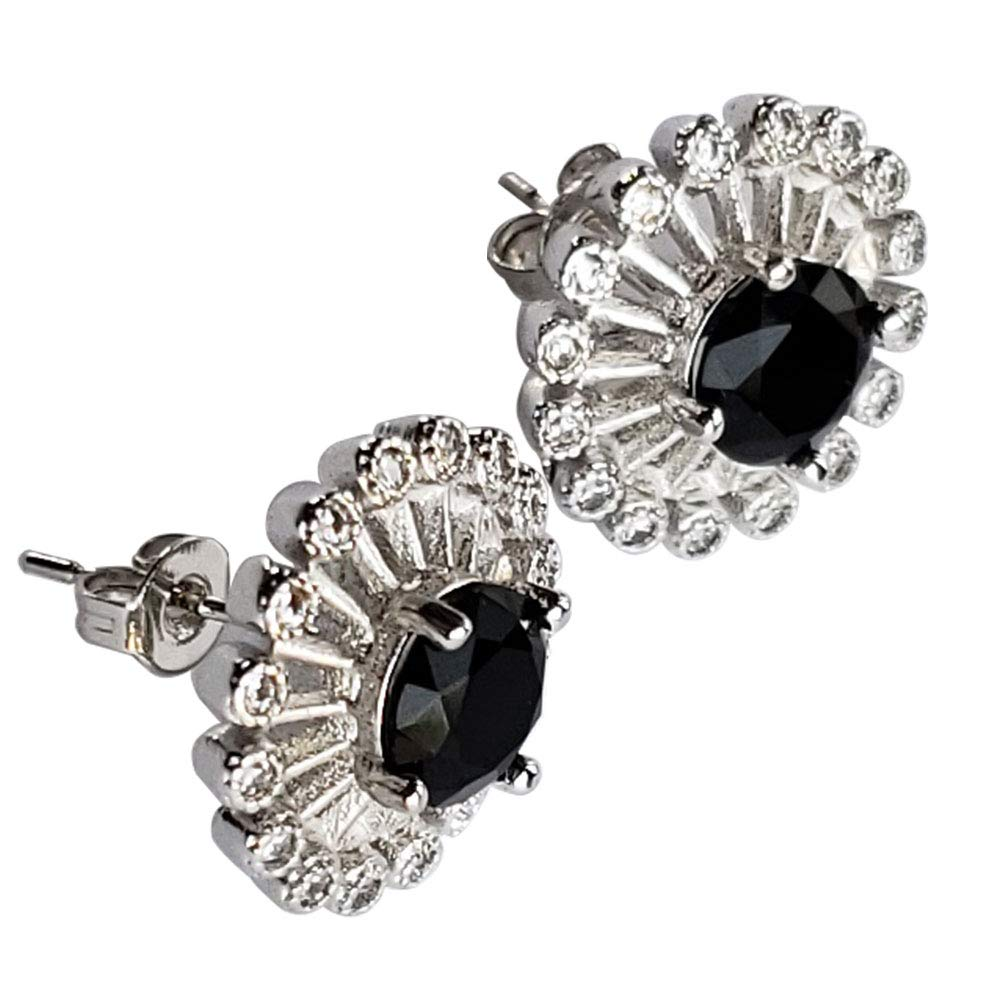 0.6 Round Silver Finished Central Black Crystal and Created 16 White Shimmering Crystals Halo Stud Earrings Hypoallergenic Fashion Jewelry for Women Girls