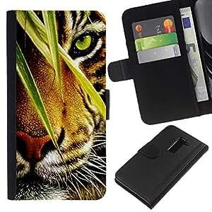 LG G2 D800 D802 D802TA D803 VS980 LS980 , la tarjeta de Crédito Slots PU Funda de cuero Monedero caso cubierta de piel ( Tiger Jungle Forest Rainforest Eye Feline)