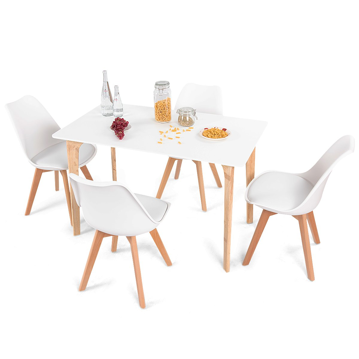 Giantex 5 Pieces Dining Table Set w/ 4 Chairs Home Dining Room Kitchen Waiting Room Modern Rectangular Table Mid-Century Dining Chairs with Padded Seat Wood Legs White