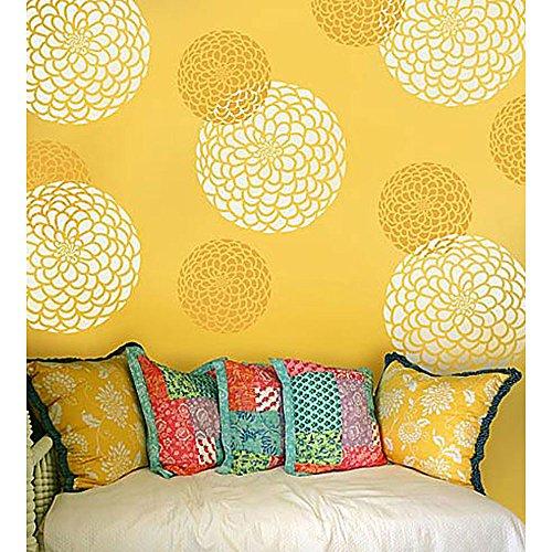 Flower Stencil Zinnia Grande size - Large - Reusable wall...