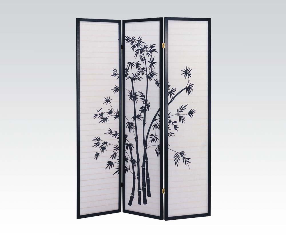 Brand New Yuta (18''x3) x71''H 3-panels Wooden Screen Room Divider-Black Finish