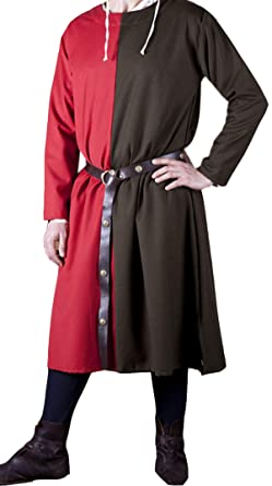 Amazon com: Medieval Knight Viking Cotton Tunic Red/Brown