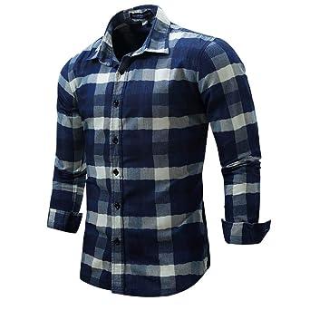 BaZhaHei, Polo de Hombre, Hombre Enrejado Denim de Manga Larga Beefy Button Blusa sólida básica Camiseta para Hombre Tops de Manga Larga de Cuadros de ...