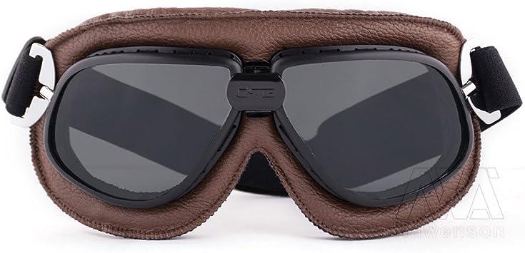 Nawenson Lunettes de sport en cuir rembourr/é pour moto Style aviateur vintage