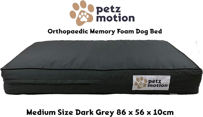 Petzmotion Colchón ortopédico de Espuma viscoelástica para Perro, Forro Impermeable, Funda Lavable, Ideal para Artritis de Mascotas, displasia de Cadera, etc.