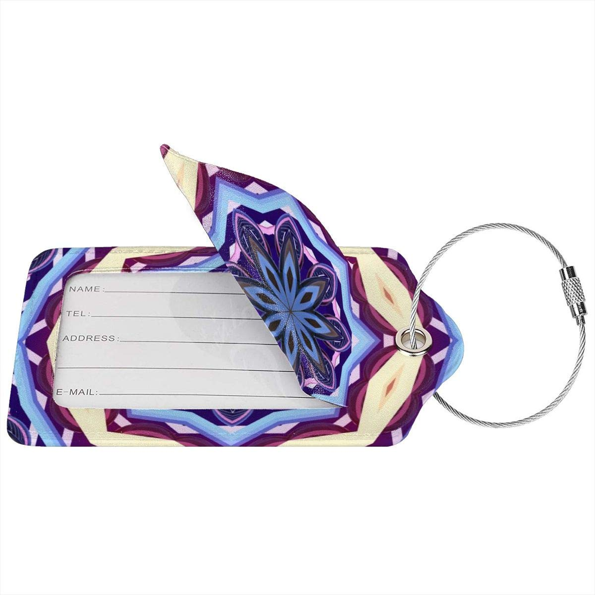 1pcs,2pcs,4pcs Mandala Pattern Pu Leather Double Sides Print Luggage Tag Mutilple Packs