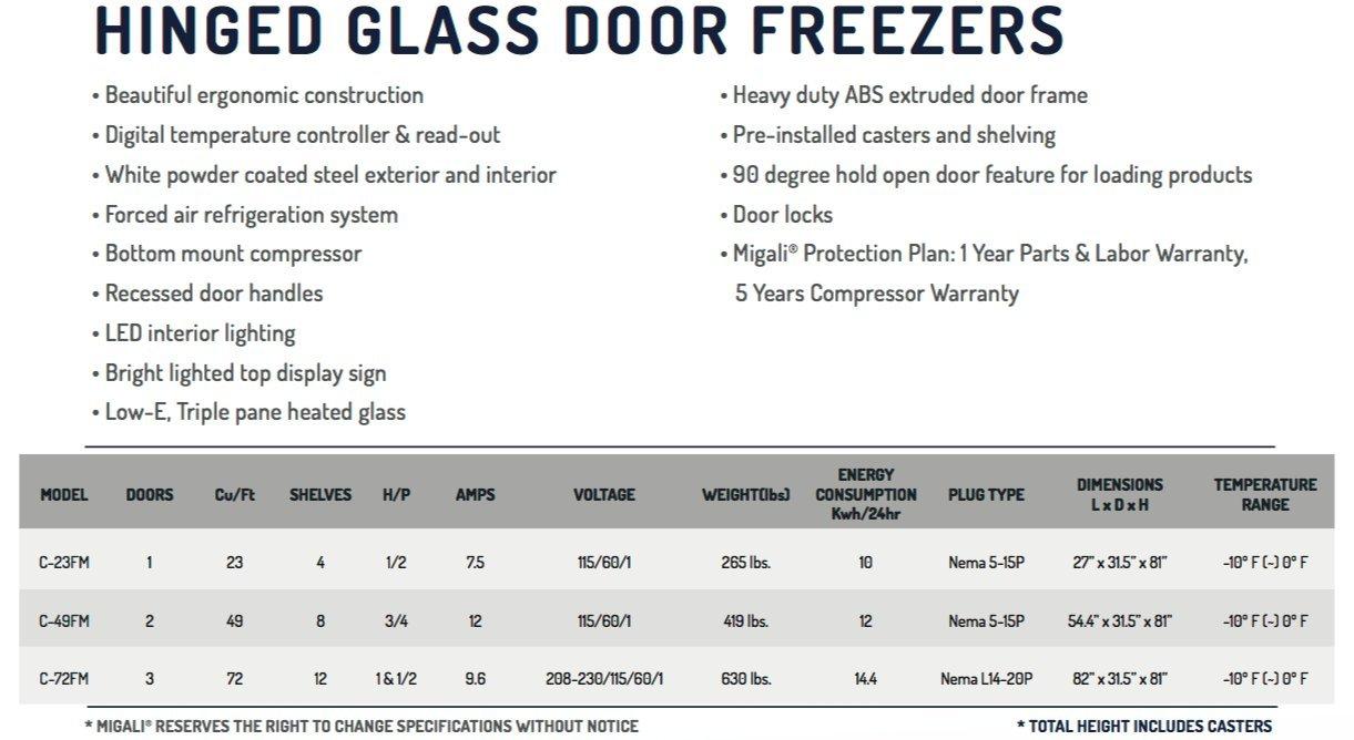 Migali C-72FM 72 Cu/ft 3 Glass Door Merchandiser Freezer