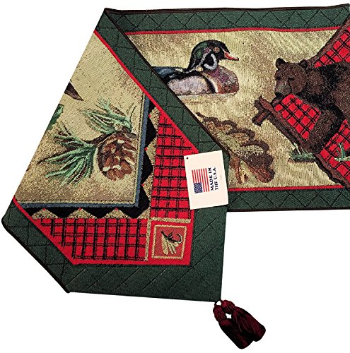 Manual Adirondack Trout Fishing Wildlife Bear Sally Roberts Tapestry Tablerunner UAND72 13x72