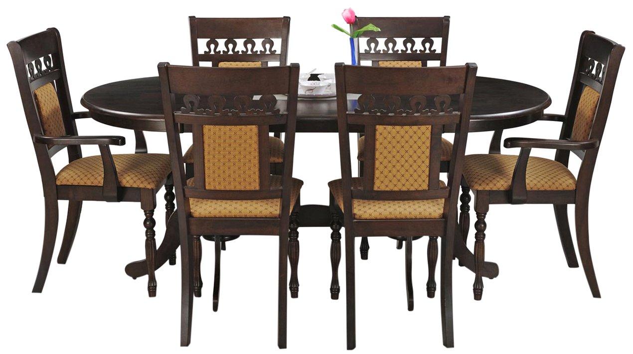 Royaloak Angel Six Seater Dining Table Set Walnut Buy Online In Faroe Islands At Faroe Desertcart Com Productid 64758557