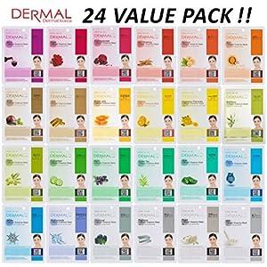[24 value pack] Dermal Korea Collagen Essence Full Face Facial Mask Sheet