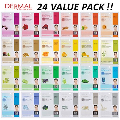 DERMAL 24 Combo Pack Collagen Essence Full Face Facial Mask Sheet - The Ultimate Supreme Collection for Every Skin Condition Day to Day Skin Concerns. Nature made Freshly packed Korean Face Mask (Best Korean Face Mask Review)