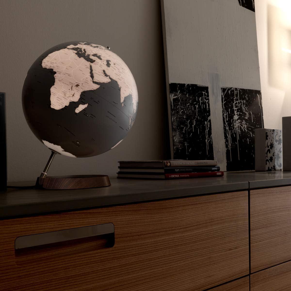 "Full Circle Reflection 12/"" Minimalist Designer Series Illuminated World Globe with Silver and White Design for Desk Office Home Decor Waypoint Geographic Light Up Decorative Globe Bookshelves"