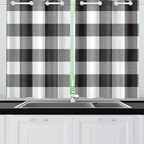 (YUMOING White Buffalo Plaid Kitchen Curtains Window Curtain Tiers for Café, Bath, Laundry, Living Room Bedroom 26 X 39 Inch 2 Pieces)