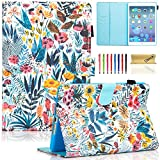 Dteck Case for iPad Mini 3/2/1, Slim Fit Folio Stand PU Leather Case [Stylus Slot] Smart Auto Wake/Sleep Cover for Apple iPad Mini 1/ Mini 2/ Mini 3, Colorful Garden