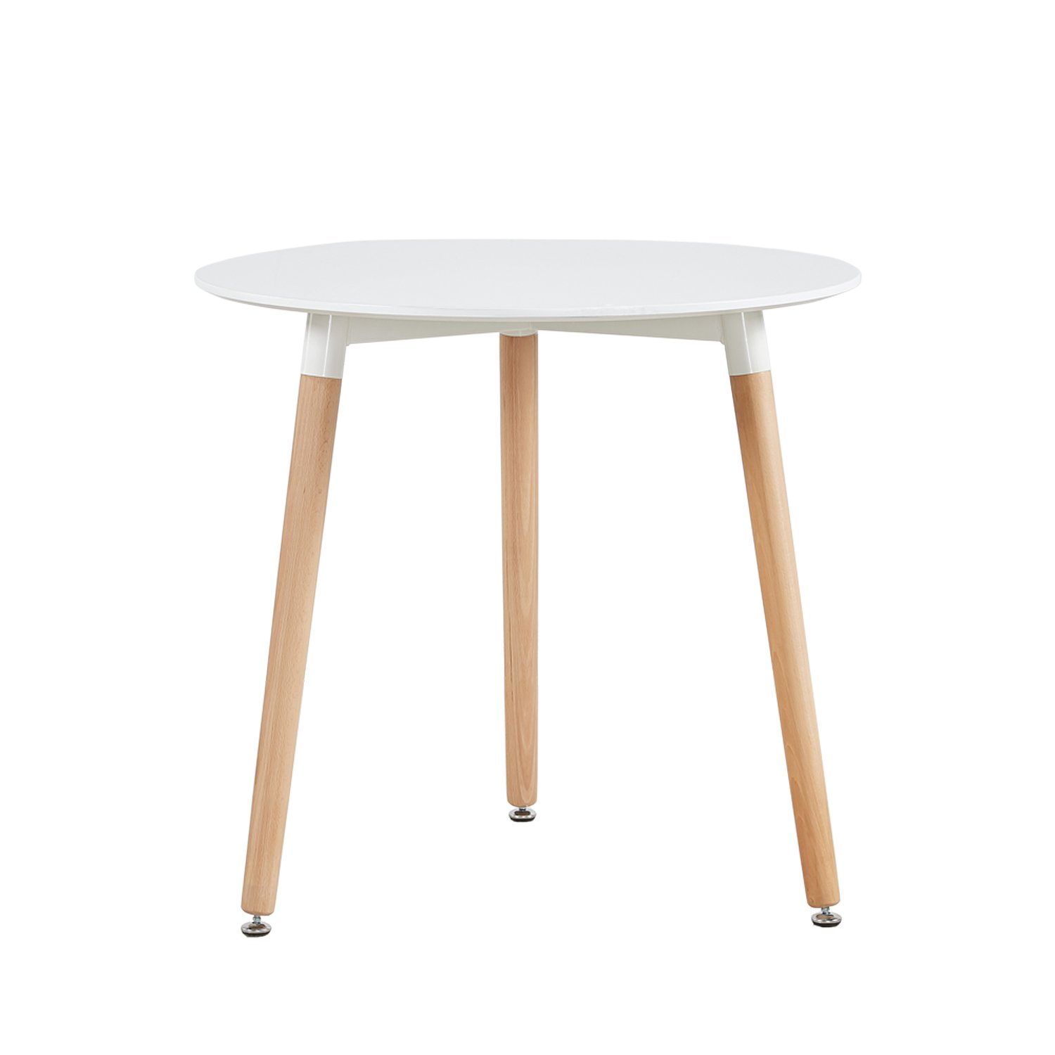 DORAFAIR Scandinavian style Round Dinning Table with Solid Wood Legs,Coffee Table White Modern Leisure Tea Table Office Table End Table,White