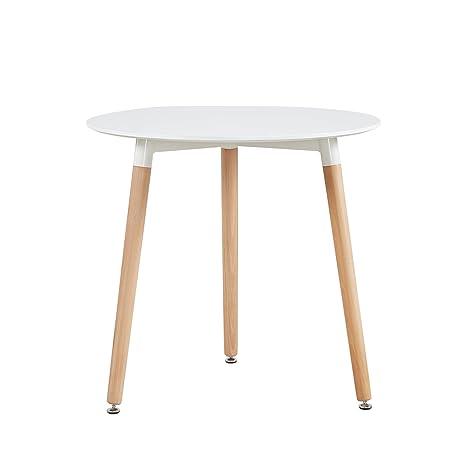 DORAFAIR Mesa Comedor Redondas Blancas, Mesa Cocina Escandinavo y Patas de  Madera de Haya, 80 * 72 cm