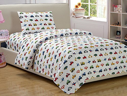 (Mk Home 3pc Twin Size Sheet Set Police Cars Construction Trucks Airplane Blue Red Yellow Green Black New)
