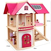 Mobilyalı Ahşap Pembe Oyun Evi Pink Doll House
