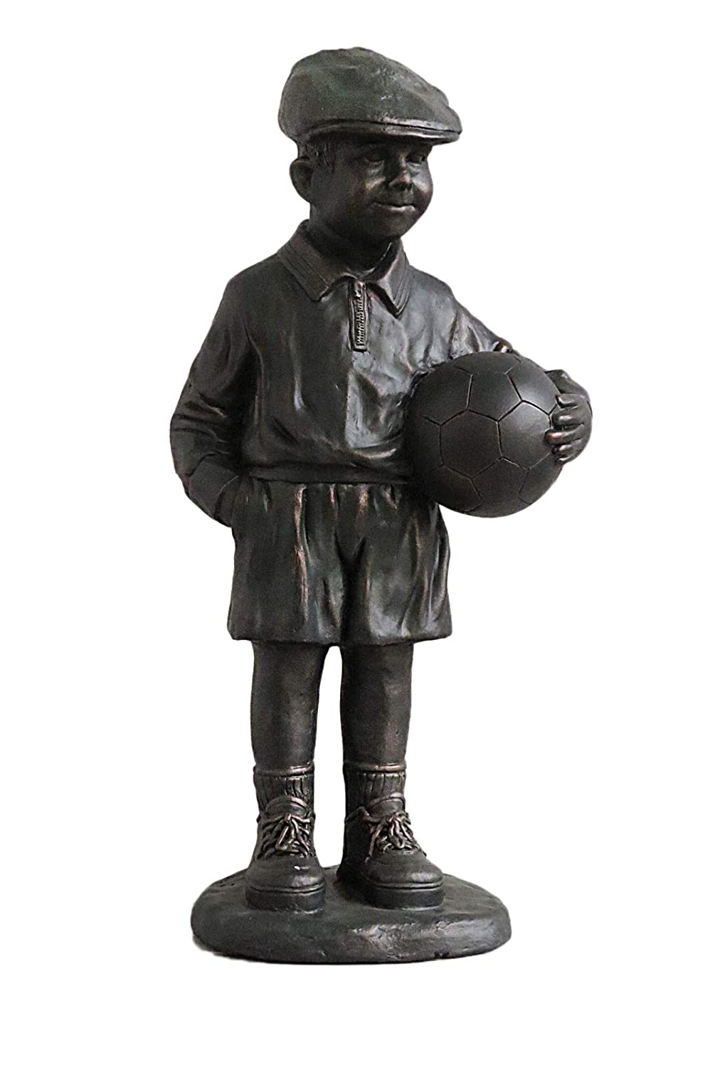 Bronze Colour Billy Boy with Ball Standing Garden Statue Flame
