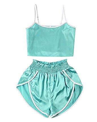 74dec162355b ZAFUL Women's Sport 2 Pieces Satin Set Spaghetti Strap Crop Tank Top and  Dolphin Shorts (