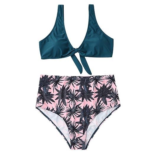 98b9676641 ZAFUL Women s Plus Size Leaf Print High Waisted Cut Out Bikini Set  (Malachite Green XL