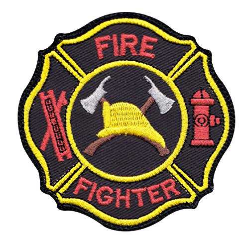 - Firefighter Hook Ladder Badge Sew On Glue Backing Patch