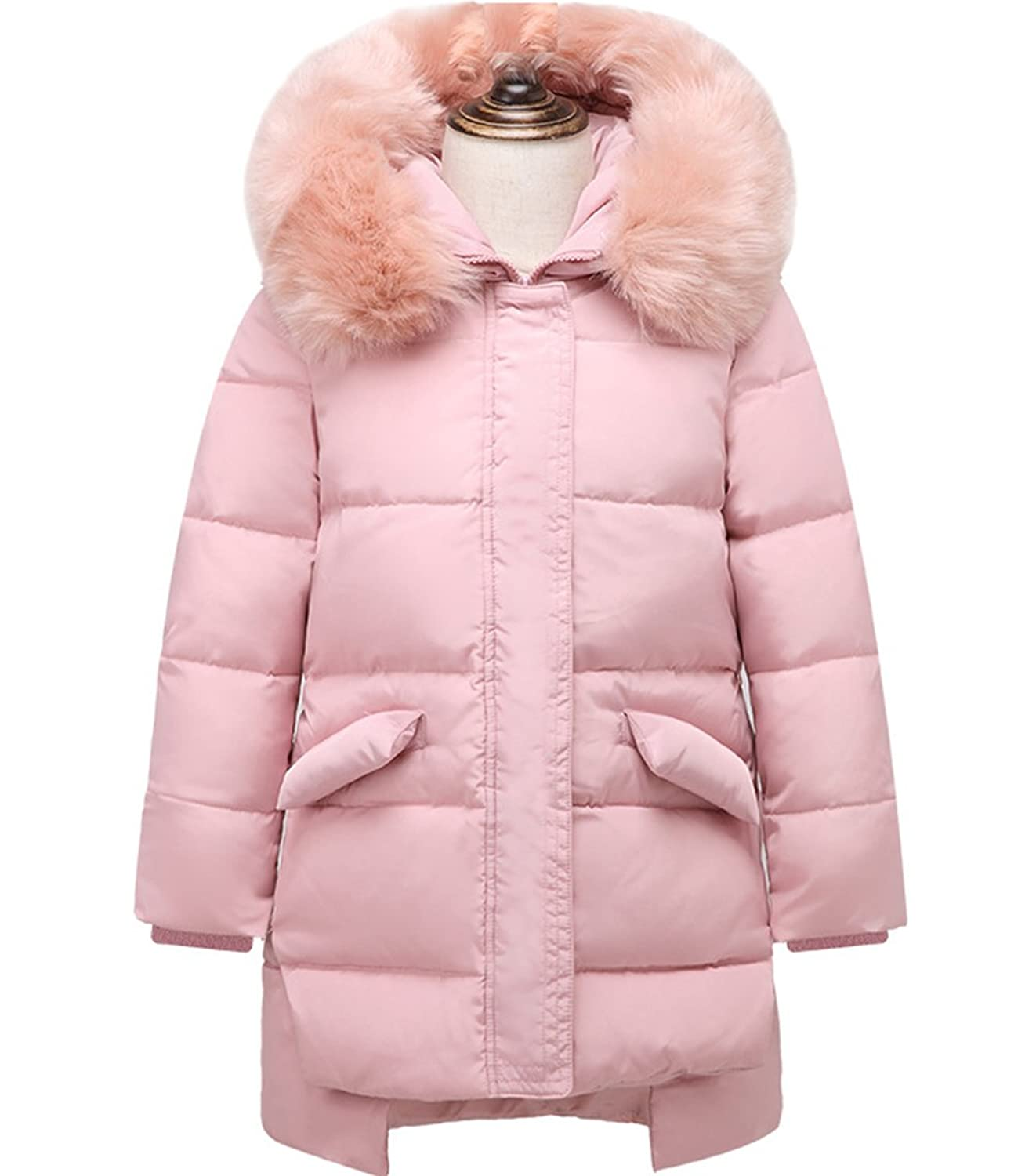 Big Girls' Winter Parka Down Coat Jacket with Fur Hood Parka Outwear