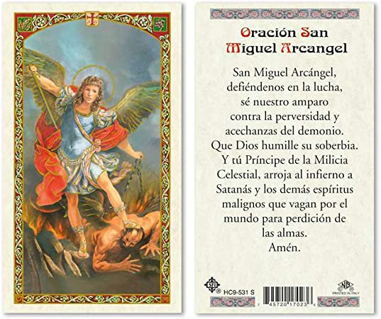 Oracion A San Miguel Arcangel Laminated Prayer Cards Pack Of 25 In Spanish Espanol Office Products