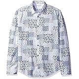 Calvin Klein Jeans Men's Long Sleeve Botanical Print Button Down Shirt, White, MEDIUM